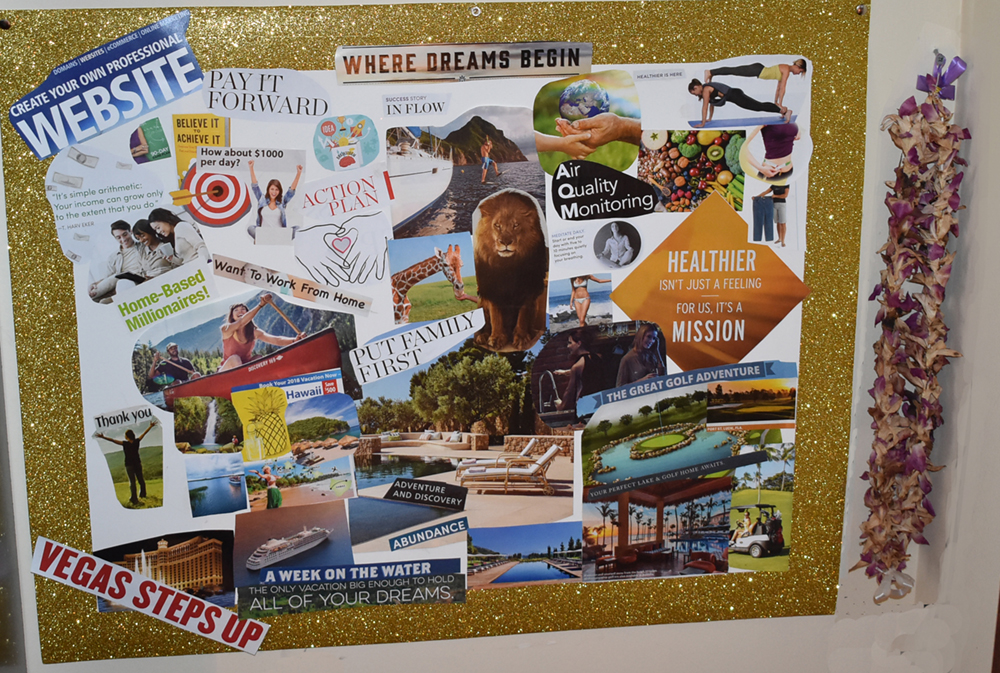 vision board on wall